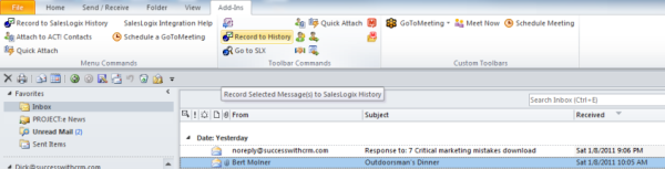 Outlook-SalesLogix-email-record