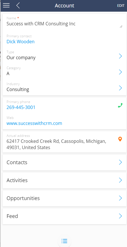 Account detail and related options in bpmonline mobile