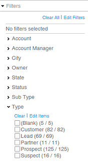 Infor CRM Groups Filter options