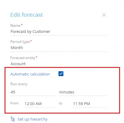 Automatic calculation of a forecast