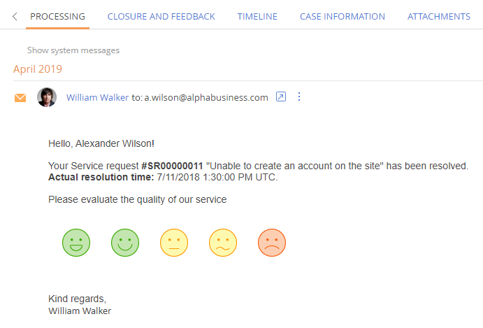 Case resolution customer feedback rating