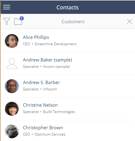 Contacts listing view bpmonline mobile