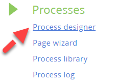 Process designer menu