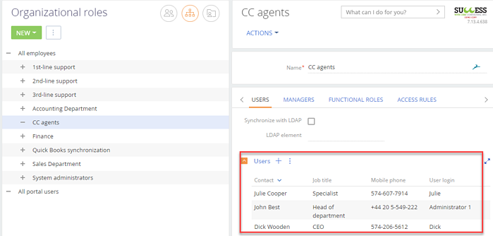 Setting up users as CC Agents organizational role in Creatio