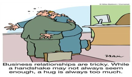 Business relationships can be tricky - hugging