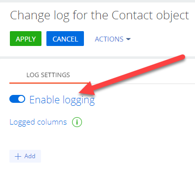 Change log for the contact to enable logging