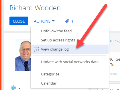 Contact action view change log