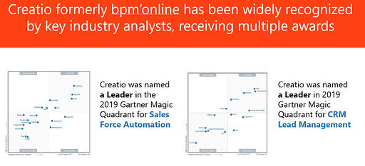 Creatio -key industry analysts- received multiple awards