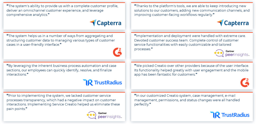 Creatio User Recognition from G2Crowd, Trust Radius, Gartner Peer Insights- Quotes