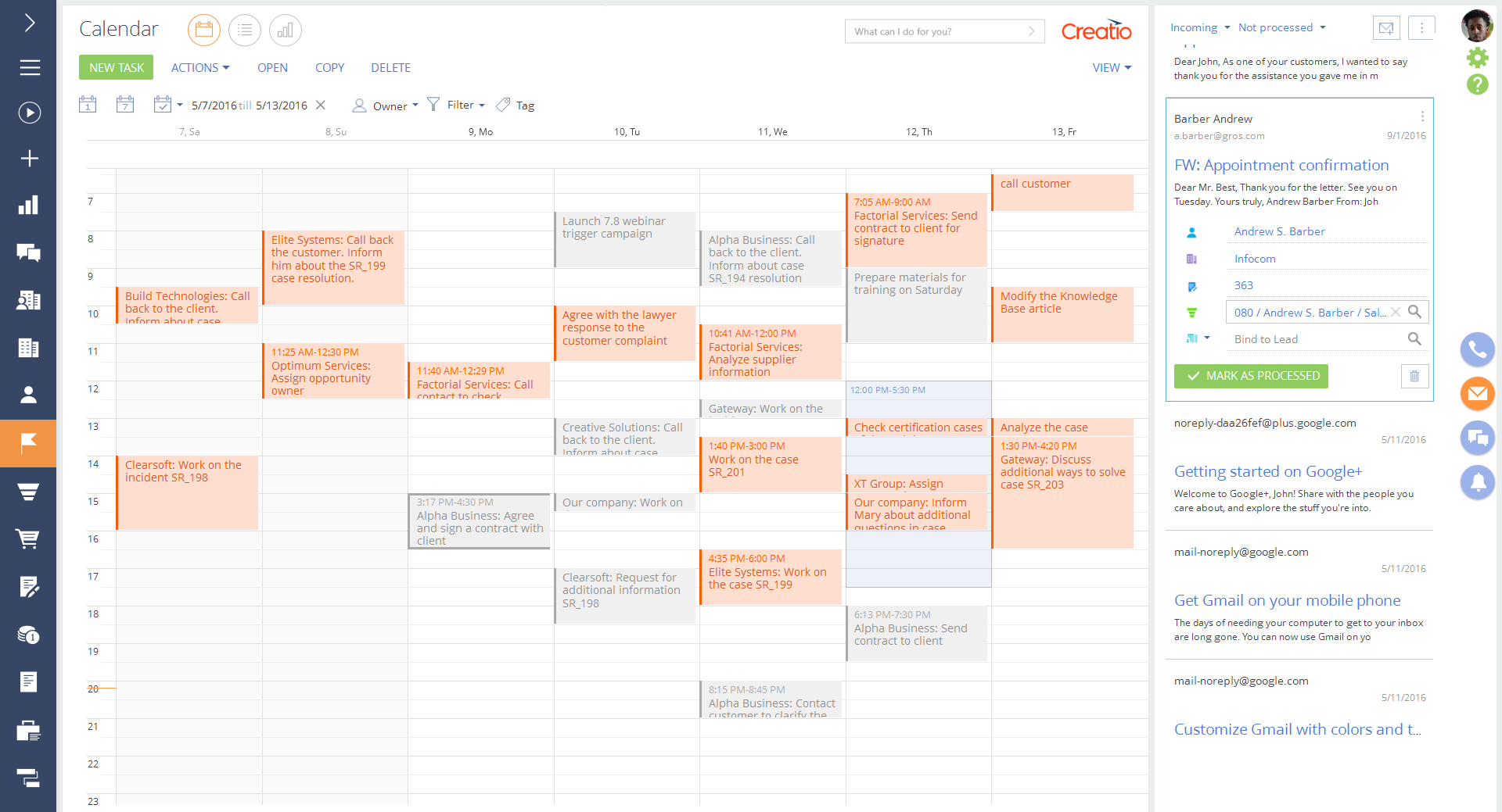 Calendar view - activities - Creatio for Higher Education