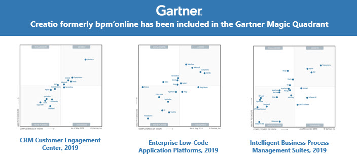 Creatio in Gartner Magic Quadrant awards