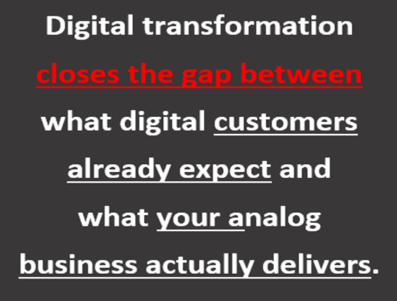 Digital transformation closes the GAP -what customers expect and your analog business actually delivers