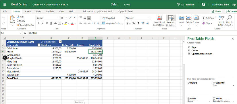 Excel pivot report from opportunities