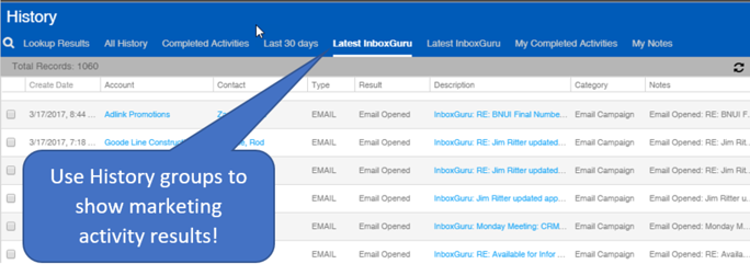 Infor CRM History main view Inbox Guru results.png