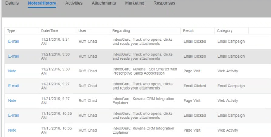 Infor CRM contact or lead history from InboxGuru
