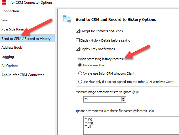 Infor  Xbar 1.4 Send to CRM and  Record to history options