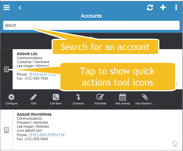 Infor Mobile Account search and quick actions