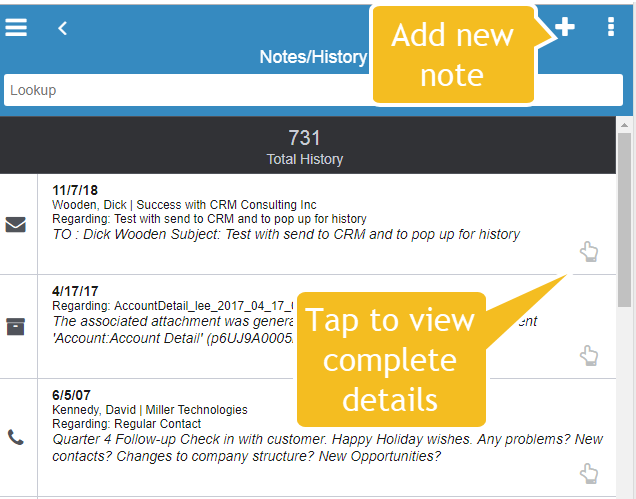 Infor Mobile notes-history list view