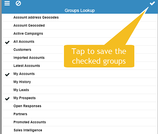 Infor mobile account groups configuration selection