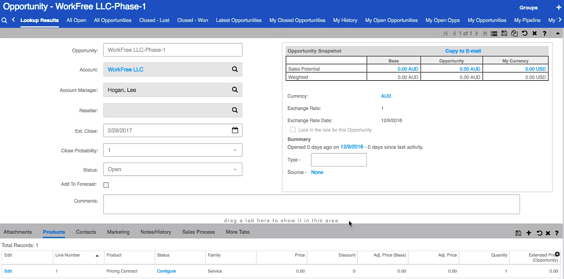 Infor CRM new opportunity with sales price contract.png