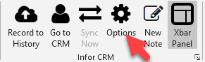 Infor Xbar options icon
