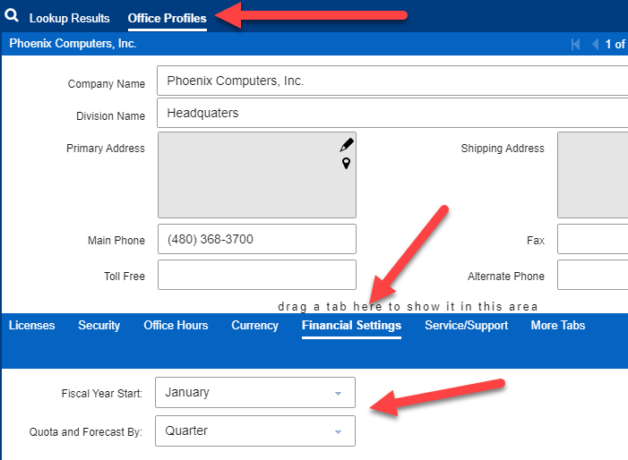 Infor  CRM 8403 Financial Settings for Quota management