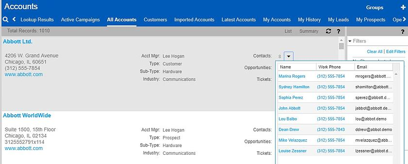 Account Summary list view