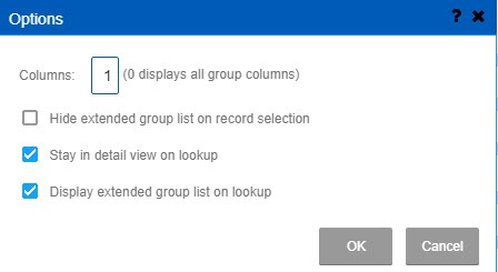 Group list configurable options