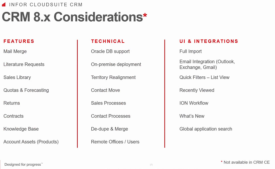 Infor CRM 8.x Considerations versus CRM CE 3-2020