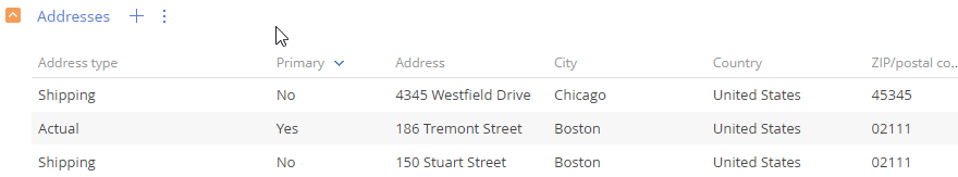 Track multiple addresses in CRM
