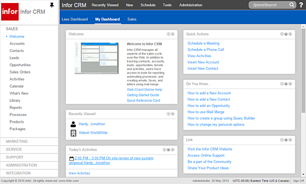 Infor__CRM_8.2_Welcome_dashboard