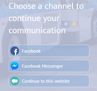 Chatbot pop up to select channel of communication