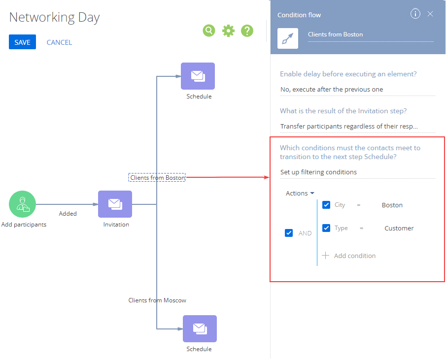 Networking day single condition flow