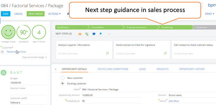 Opportunity-sales process next steps