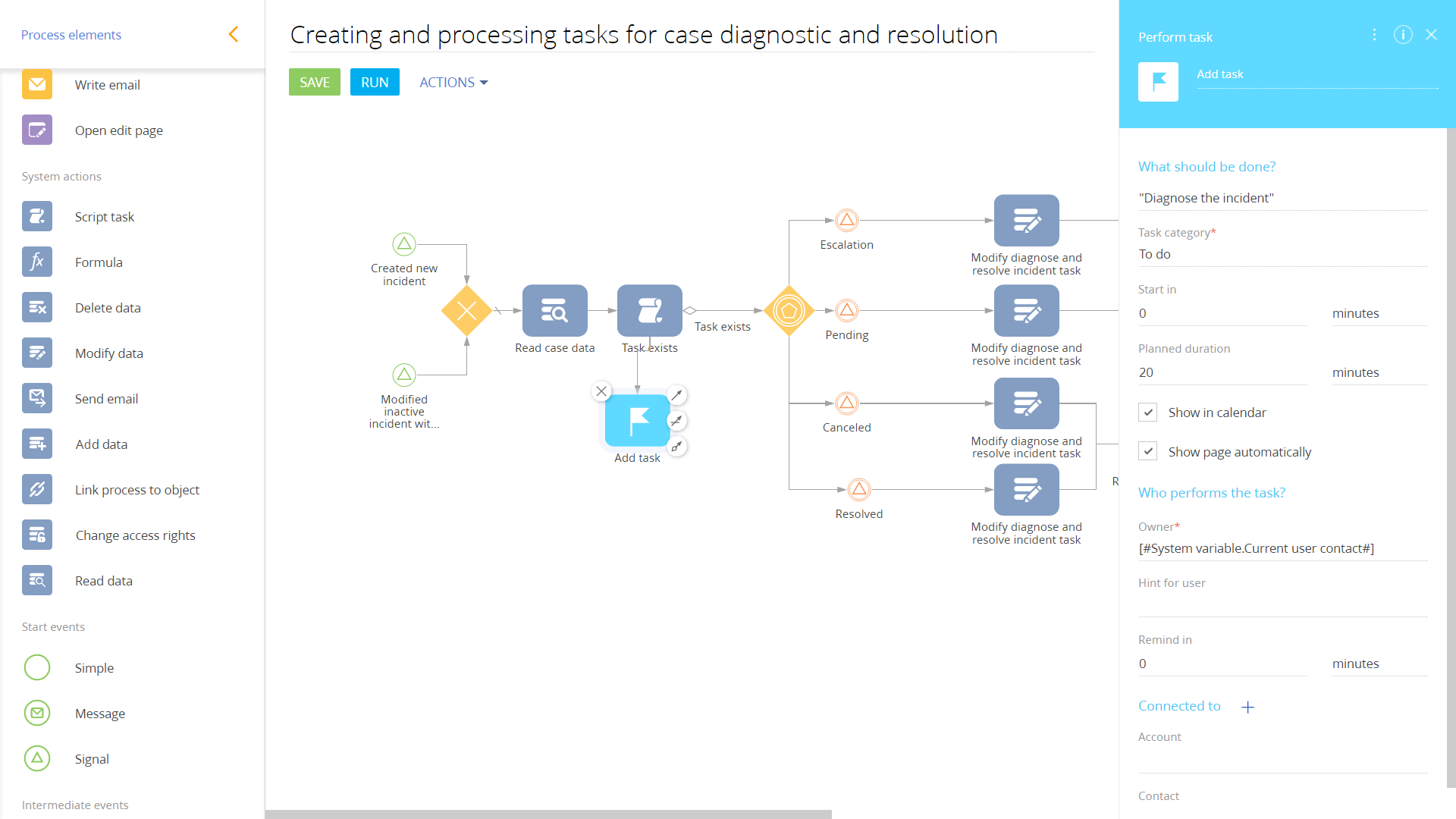 Process-case diagnoistic and resolution-wide