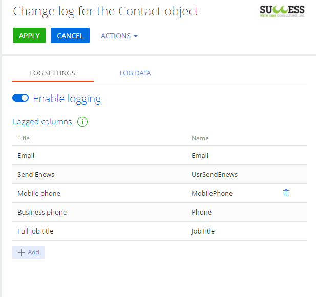 Selecting fields for contact change tracking