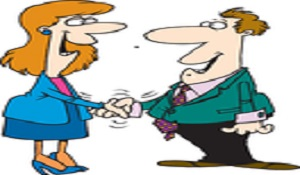 Business woman and man-happy-shaking hands-300-175